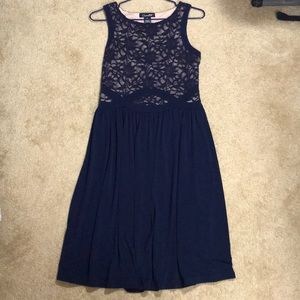 Blue/nude lace dress